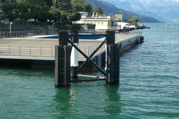Opere fondazione piscina galleggiante Lago di Como